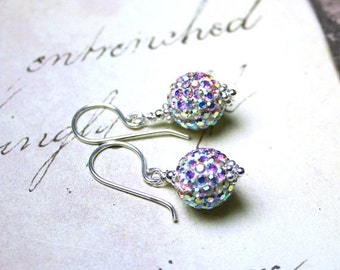 ON SALE Pave Crystal Ball Earrings - Bling Ball Earrings in Crystal AB - Sterling Silver and Swarovski Crystal