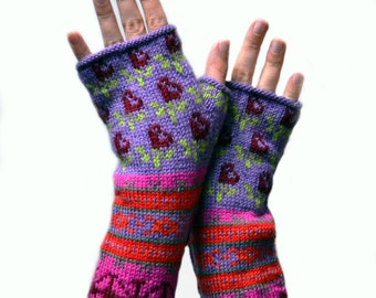 Long Colorful Fingerless Gloves - Hand-knit Fingerless Gloves - Colorful Fingerless with Flowers - Winter  Fashion nO 81.