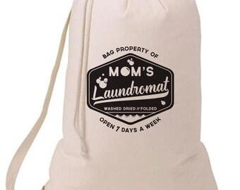 Grad Gift Mom's Laundromat Laundry Bag, Humorous Laundry Bag, College Hamper, College Student Gift- Graduation Gift- 52C