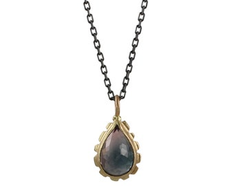 Bi-Color Tourmaline Necklace - Lavender & Indigo - Recycled Solid Gold, Oxidized Sterling Silver, OOAK, Ready to Ship