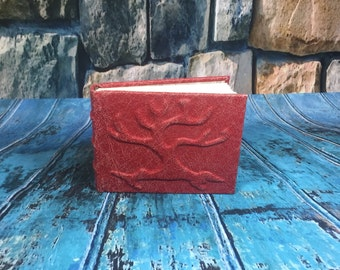 Red Tree of Life leather journal, Notebook. Beaufiful distressed red leather.