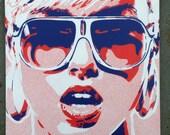 Pop art woman painting,canvas,stencil art,spray paint art,sunglasses,red,blue,earings,abstract,portrait,girl,her,home living,artwork,design