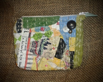 Zipper Pouch, coin pouch, patchwork zipper case