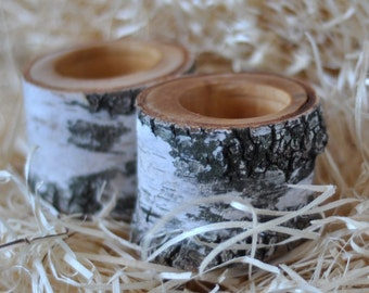 White Birch Candle Holder • set of 2 Candle Holders