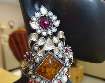 ON SALE Jaipur Bali -J477-Amber Bali WIth Pearls and Red Crystals