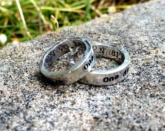RING SET - Custom Sterling Silver Thick Hand Stamped Rings - 14 FONT Choices