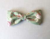 Floral Mens Shabby Chic Bow Tie Clip On Apple Green Pre tied Country Wedding Women Boy Baby Children Cotton Bow tie for Groom Groomsmen