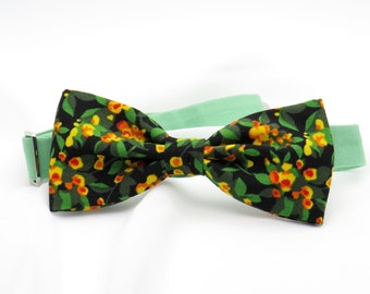 Mens Ditsy Floral Bow tie Black Orange  Bowtie Pre tied Women Boy Baby Children Bow tie Country Wedding Shabby chic Bow tie for Groomsmen