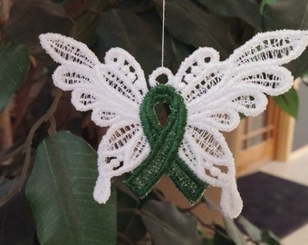 Adrenal Cancer, Cerebral Palsy, Organ Donation, Green Awareness Ribbon Butterfly Ornaments- Lace, Stem Cell Research, Cancer Survivor