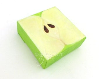 The Daily Doodle, A Square Granny Smith Apple Half, 4x4 acrylic canvas art, for teacher