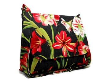 Floral Messenger Bag, Amaryllis Purse, Red Black Pocketbook, Floral Crossbody Bag, Christmas Purse, Cross Body Purse, Fabric Handbag