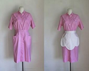 vintage 1950s uniform dress - CANDY PINK waitress/nurse dress / M