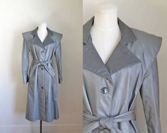 vintage 1970s leather coat - ICE STORM two tone gray trench / S