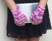 Musicians fingerless gloves knitted lace wrist warmers red white blue cotton women's pulse warmers choose your color