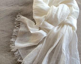 White linen scarf washed gauzy bridal scarf with fringe lightweight shawl for women