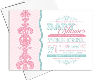 Unique baby shower Invitations girl | Pink and Mint baby shower invites | printable or printed - WLP00732