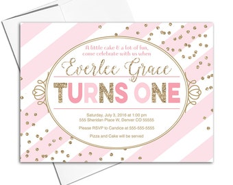 Digital first birthday party invitations girls | pink and gold girls birthday invites | Printable or printed Willow Lane Prints - WLP00307