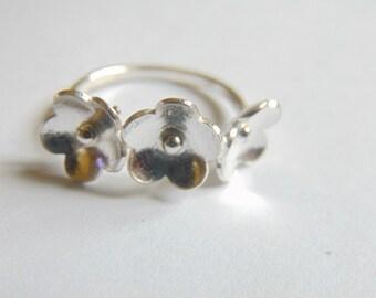 Sterling Silver Three Flower Ring