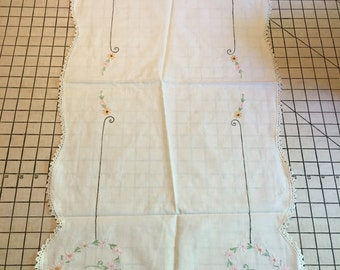 Vintage Dresser Scarf Embroidered Pink and Yellow Flowers #3640