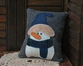 Winter Snowman Pillow Christmas Snowman Wool Pillow