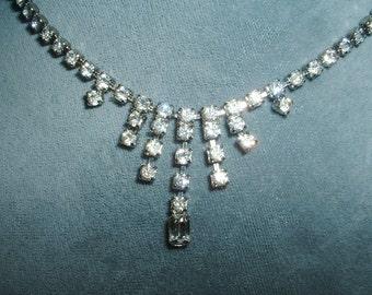 Vintage Deco Rhinestone Drop Necklace Rodium Plated 1940