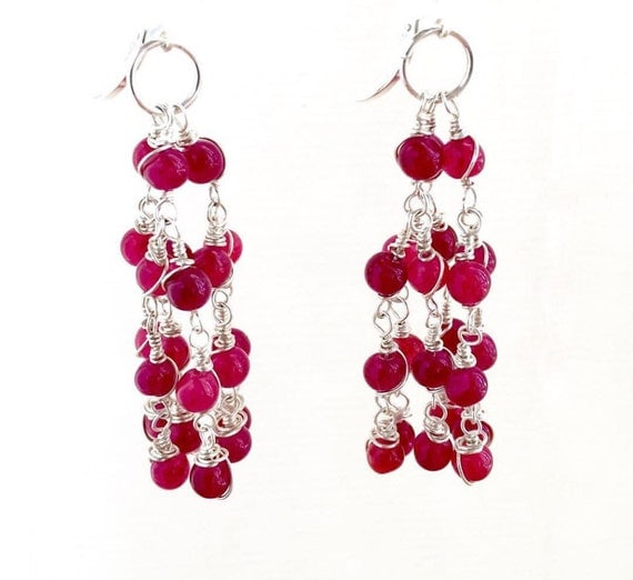 Sale Ruby Quartz Tassel Earrings Wrapped Sterling Silver Chandeliers