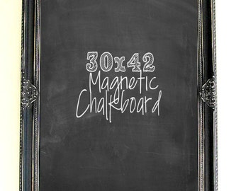 Large Magnetic CHALKBOARD Distressed Black Board Wood Framed Blackboard Gothic Wedding Baroque Rustic Wedding Chalkboard Menu Board Signage