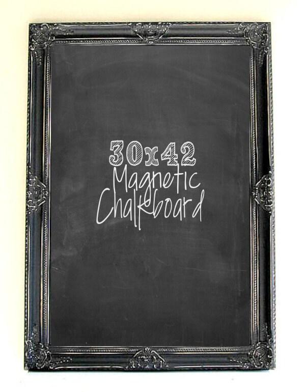 Large Magnetic Chalkboard Distressed Black Board Wood Framed