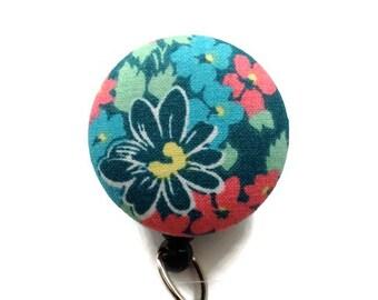 Teal Floral Badge Reel Nurse Badge Reel Retractable Badge Holder ID Badge Reel Badge Clip Badge Pull Name Badge Holder Key Card Holder