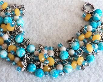 Charm Bracelet, Cha Cha Bracelet, Beach Bracelet, Beach Jewelry, Starfish Charm Bracelet, Nautical Bracelet - SANIBEL ISLAND