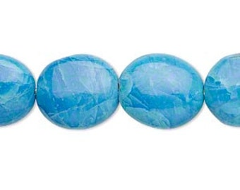 28pcs 14x12mm Oval Turquoise Blue Howlite Natural Gemstone Beads 16 Inches