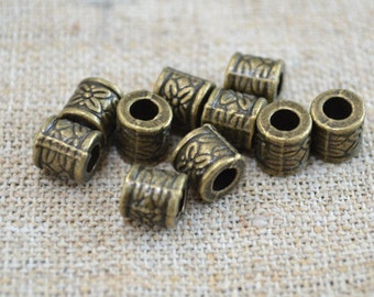 20pcs Metal Beads Antiqued Brass 8x8mm Cylinder Tube 3mm Hole