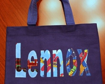 Boy's Personalized Library Tote - trains planes rockets boy book bag school custom name birthday gift idea wedding ring bearer toy tote kids