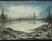 dark lake aceo watercolour art painting landscape ref 235