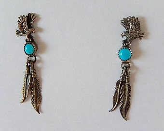 Eagle Earrings, Feather Earrings, Silver Earrings, Small Dangly Earrings, Sterling Earrings, Southwestern Earrings Gift for Her,