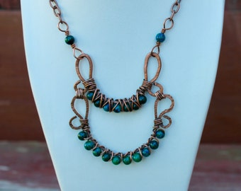 Chrysocolla Necklace /Wire wrapped Copper /Feng Shui Jewelry /Heart and Throat Chakras /Reiki Energy