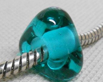 Handmade Lampwork Bead Large Hole European Charm Bead Teal Color Triangle Shaped Lampwork Bead
