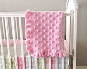 Blush Pink Baby Girl Crochet Ruffles and Dots Small Blanket