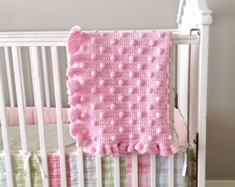 Blush Pink Baby Girl Crochet Ruffles and Dots Small Blanket