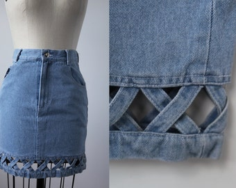 Vintage Pale Blue Denim Mini Skirt with Cut out Cross hatch Hem Detail High Waist Jean 80s S
