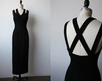 Vintage Black Wool Maxi Dress with Criss Cross Back Fitted 90s S