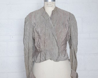 Antique Edwardian Blouse Bodice in Iridescent Tan Silk