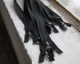 "Lot of 10 20"" Open End Zippers Bronze Metal Teeth Black Tape"