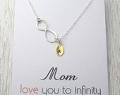 ON SALE New! Infinity Necklace/Mother Grandma Gift/Personalized Monogram Necklace/Gold or Silver Leaf/Mom Love to Infinity Necklace/Message