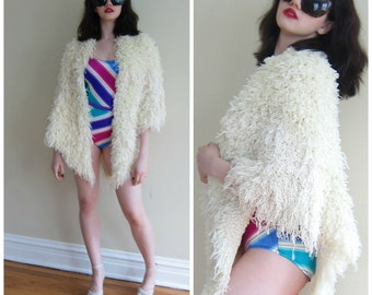 Vintage 1970s 1980s Shaggy Scarf in Knit Silk and Paper / 70s 80s Ivory Cream Fringed Wrap Shawl One of a Kind OOAK
