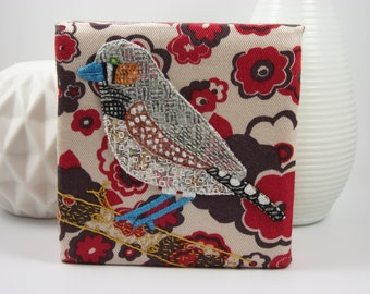 Zebra Finch Birdseeker. Hand Embroidery canvas.