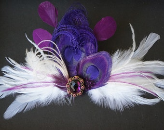 Purple Fuchsia Peacock Feather Fascinator Bridal Bride LILIBETH Hair Clip Ivory Marabou Wedding Headpiece Guinea Plum Rhinestone CUSTOMIZE