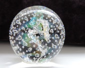 Dichroic and Silver Handblown Glass Paperweight with Bubble Trap