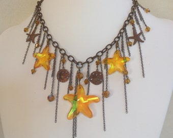 Antique Brass and Topaz Crystal Starfish Necklace