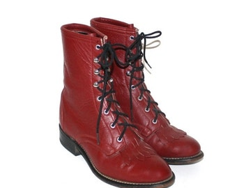 40% OFF SALE Vintage Red Leather ROPER Boots . Lace Up Cowgirl Boots with Fringe . Kiltie Cowboy Boots . Size 6